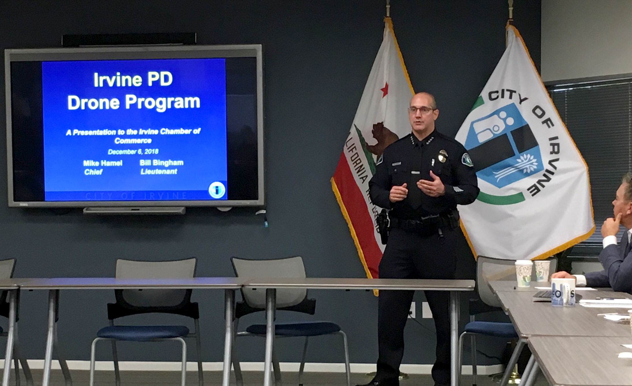 Irvine Police Chief Mike Hamel Presents New Drone Program Photo - Click Here to See