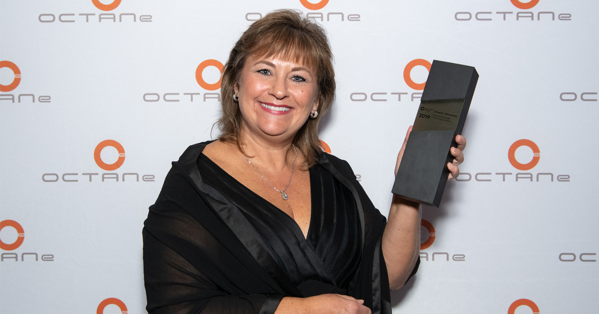 Christine Z. McCauley, corporate vice president of human resources at Edwards Lifesciences, accepted the Outstanding Large Technology Company award on behalf of the company.